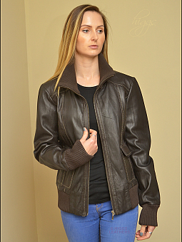 Higgs Leathers UNDER HALF PRICE!  Brenda (ladies brown leather bomber jacket)